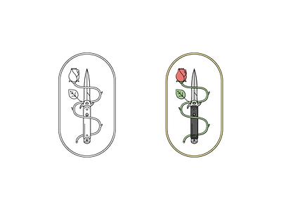 Switchblade & Rose graphic rose knife illustrator vector icon illustration