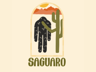 Saguaro Buddy drip mountains sunset cactus drawing plants daily drawing graphic design illustration design