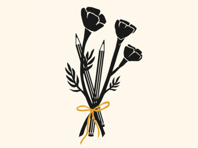 Poppies & Pencils bouquet flowers poppies drawing plants daily drawing graphic design illustration design