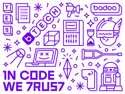 Badoo Tech Branding purple developer tech code branding