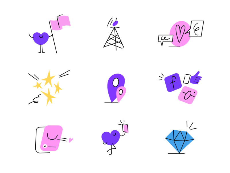 A glimpse of Badoo's illustrations magiclab dating illustraion badoo