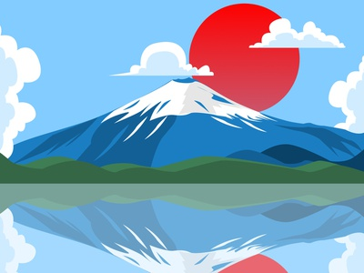 Fuji Mountain at japan ui vector illustration branding logo developer uxdesign uidesigner uidesign design