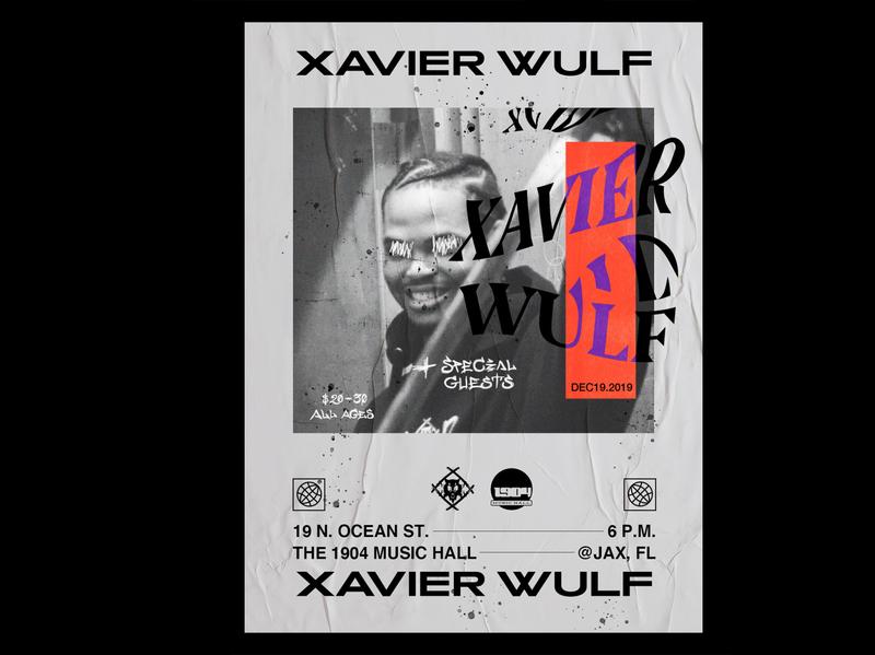 Xavier Wulf Concert Poster concert poster show flyer poster design warp wave type design music portrait wolf typography jacksonville poster concert concert flyer florida design