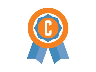 Award Recipient icon vector award recipient ribbon blue orange