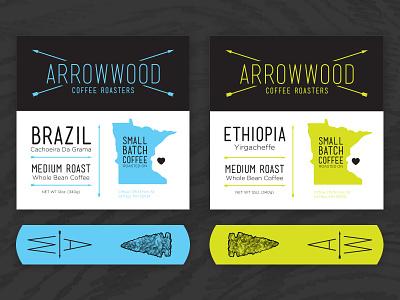 Arrowwood Roasters coffee roasters arrowwood coffee packaging brazilian ethiopian tags