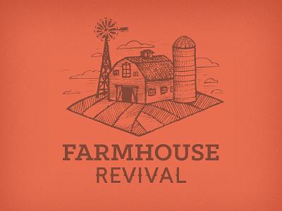 Farmbarn antiquing farm concept logo arrow illustration windmill silo barn