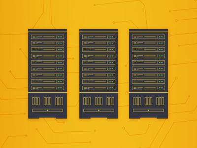 Serve buttons data tech yellow circuits server rack