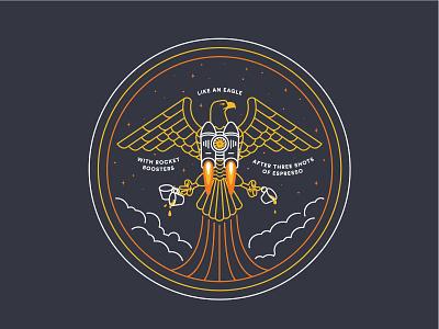 One Fast Bird 01 fast espresso rocket badge eagle illustration
