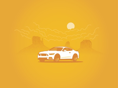 Mus-Dang! moody sun clouds monument southwest mustang illustration