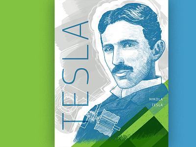Nikola Tesla rd poster engineer illustration