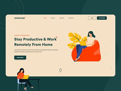 Remotely work landing page designer landing design webdesign website ui ux design