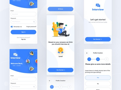 Interview App UI question app design app minimal app light theme app minimal ui ux ui interview app interview app design