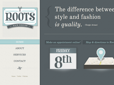 Roots Site website logo salon hair roots