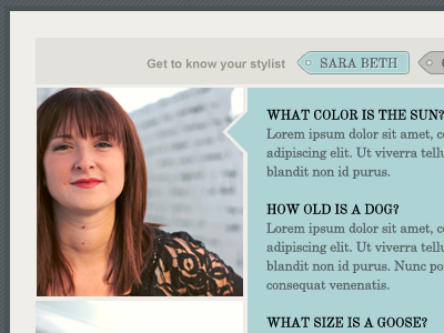 Stylist Page profile layout photo tags