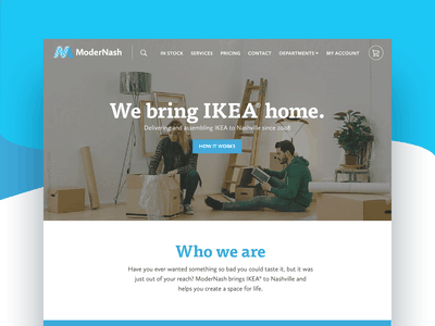 ModerNash Website + Store design system ui service homepage ecommerce web design website