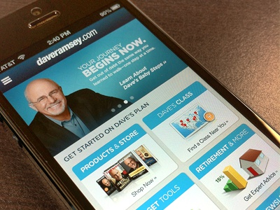 Mobile daveramsey.com website mobile ui nav financial dave ramsey innovative-angle