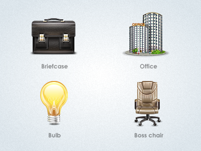 Software Icons briefcase office bulb boss chair