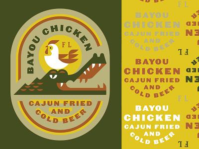 Bayou Chicken eat beer food animal badge crocodile gator