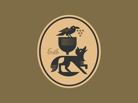 Wine Thief grapes animal bird crow fox wine