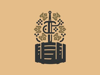 Wine Thief leaf vine drink cask sword grapes wine
