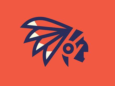 Indian Logo indian head feather face man headdress