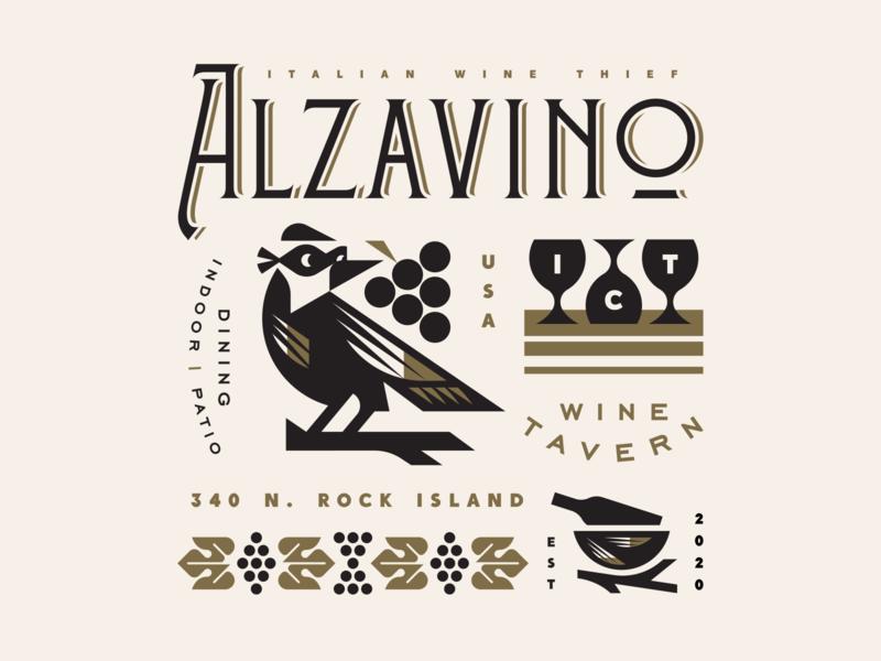 Alzavino Wine Thief bar galss branch nest wine grapes thief bird