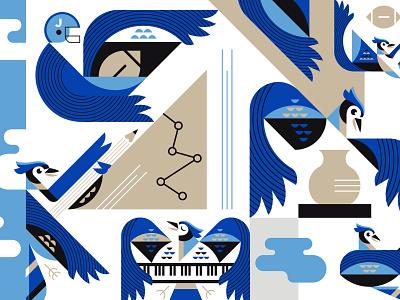 Junction City BlueJays blue wing fly bird bluejay