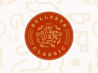 Bullseye Classic horns pool crown shield crest game bar darts animal bull