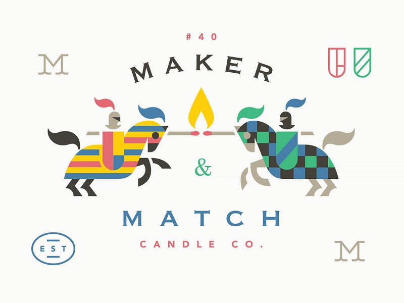Maker & Match Candle Co. crest candle match fire flame logo horse knight jousting