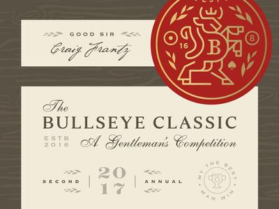 Bullseye Classic 2017 horns crown pool shield crest game bar darts animal bull