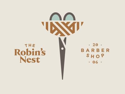 The Robin's Nest Barber Shop hair barber cut bird egg scissors nest