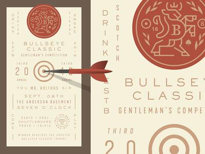 3rd Annual Bullseye Classic horns crown pool shield crest game bar darts animal bull