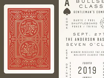 Fourth Annual Bullseye Classic cigar crest pool poker play deck cards darts bullseye bull