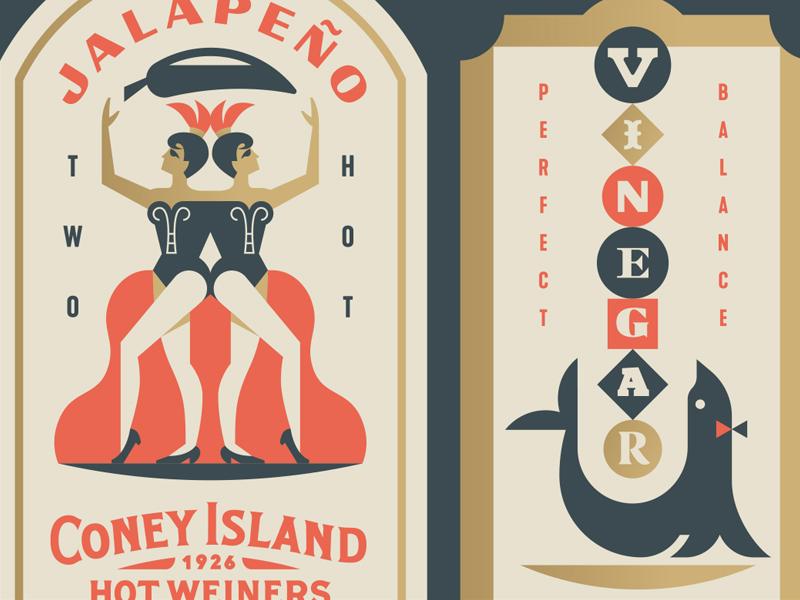 Coney Island Labels jalapeño women animal crest balance pepper seal circus twins