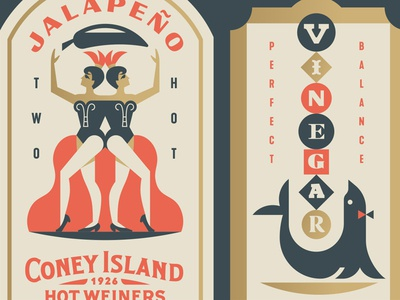Coney Island Labels jalapeño women animal crest balance pepper seal circus twins
