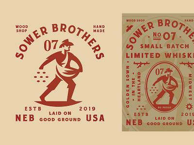 Sower Brothers crest bird plant seed hat sower type work man grow