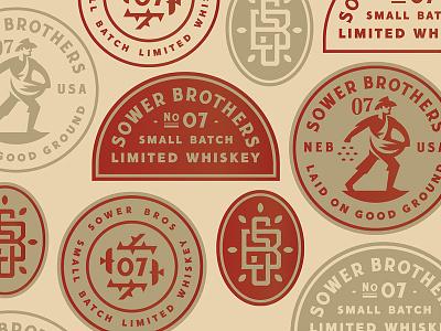 Sower Bros badge batch whiskey type man sower