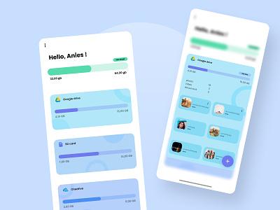 Kolong - Management cloud storage app simple ux typography blue green blur mobile uiux uiuxdesign file manager app design ui