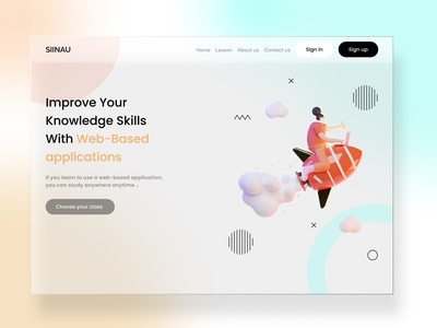 Siinau-Landing page for web learning simple clean interface landing page design landingpage orange typography website design webdesign web learn clean ui blur blue ui ux
