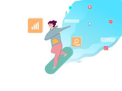 surfing the internet dribbble orange blue internet flatdesign flat illustration illustration