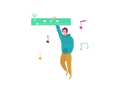 listen a music music icon flatdesign dribbble blue orange illustration design