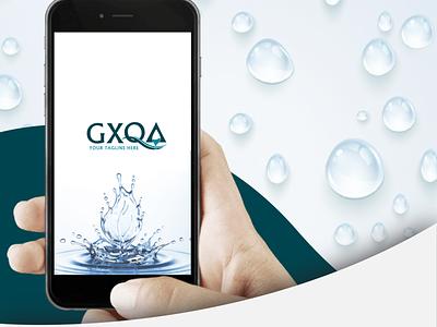 GXQA logo design drop logo drop water logo blue bold water web typography phone minimal icon design creative color clean branding app