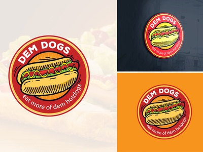hot dog logo branding creative design illustration bold logo bbq restaurant food hot dog logo
