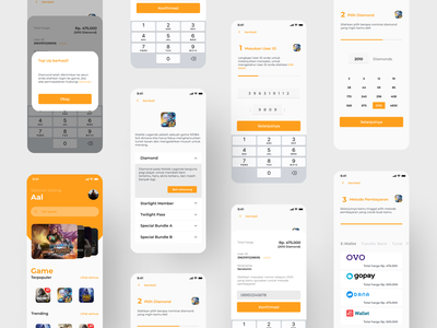 Exploration : Top up credit game with e-wallet payment method redesign ux ui android apps ewallet figma mockup clean ui ui design payment topup