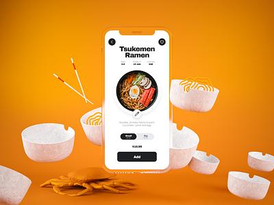 Food Ramen Concept miketopus edit orange chopsticks crab add to basket add to cart product detail food product design product ui ramen