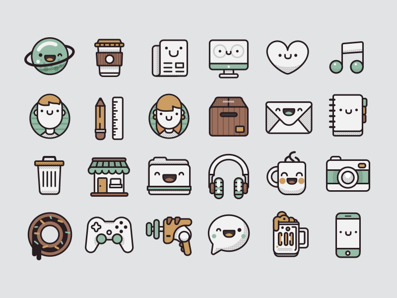 Pamoke: Free Icon Set outline pamoke free icons retro