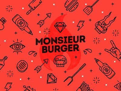 Sacre Bleu pattern monsieur burger burger color al cuadrado color2