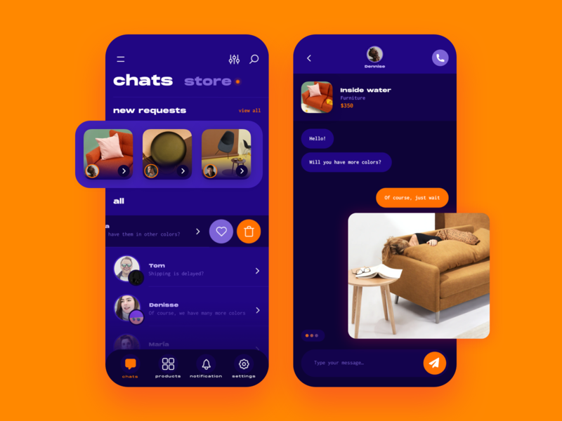Ecommerce chat design ui chat furniture app furniture ecommerce shop ecommerce app app ecommerce
