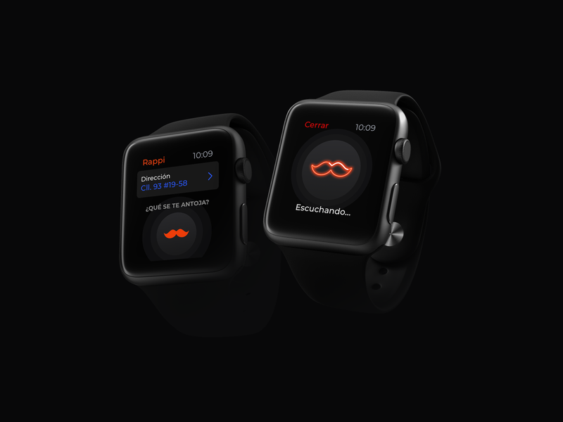 Rappi concept on your iWatch wearable app wearable voice delivery os iwatch black rappi