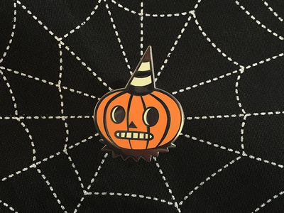 Folk Art Inspired Pumpkin Enamel Pin